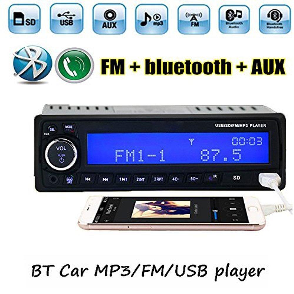 boomboost BluetoothカーラジオUSB/SD/AUX/クロック/リモート1din mp3プレーヤーヘッドユニットハンズフリー B07BK1MR43