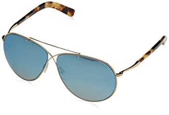 13ab02a798ad6 Amazon.com  Tom Ford FT0374 28X Gold Eva Aviator Sunglasses Lens Category 2  Lens Mirrored S  Clothing