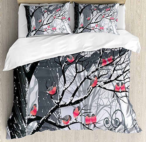 Ambesonne Winter Duvet Cover Set King Size, Cute Bullfinches on Trees Winter City Park Snow Cold Weather Immigrant Birds Design, Decorative 3 Piece Bedding Set with 2 Pillow Shams, Grey Coral