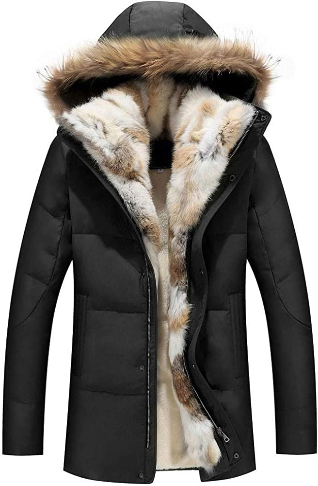 Winter Unisex Down Jackets Detachable Fur Collar Hooded Coat Warm Outwear Real Rabbit Raccoon Hood Women Men Thick Coats