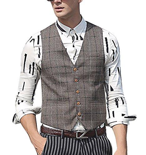 Zicac Men's British Style Suit Separate Plaid Vest