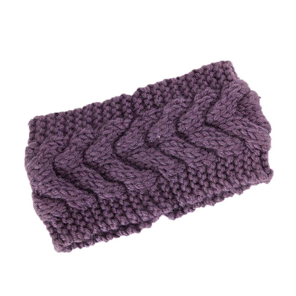 Ankola Winter Warm Twist Knitting Wool Hat Headgear Women's Ladies Knit Crochet Twist Style Headband Head Wrap (One Size, Purple)