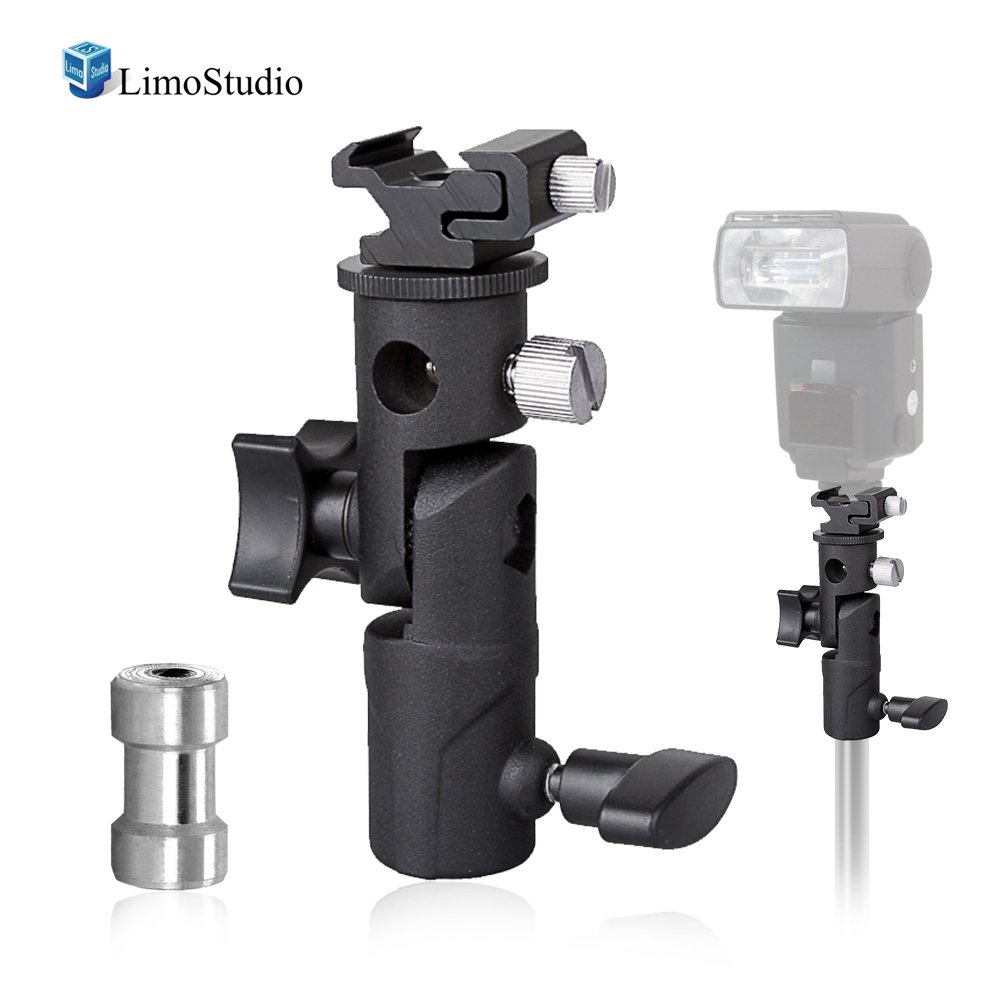 LimoStudio Flash Bracket Multi Functional 4 1/4-inch Tall Including Umbrella Reflector Holder, Light Stand Tripod Hot Shoe Mount, 1/4, 3/8 inch Female Thread, Photo Studio, AGG1986