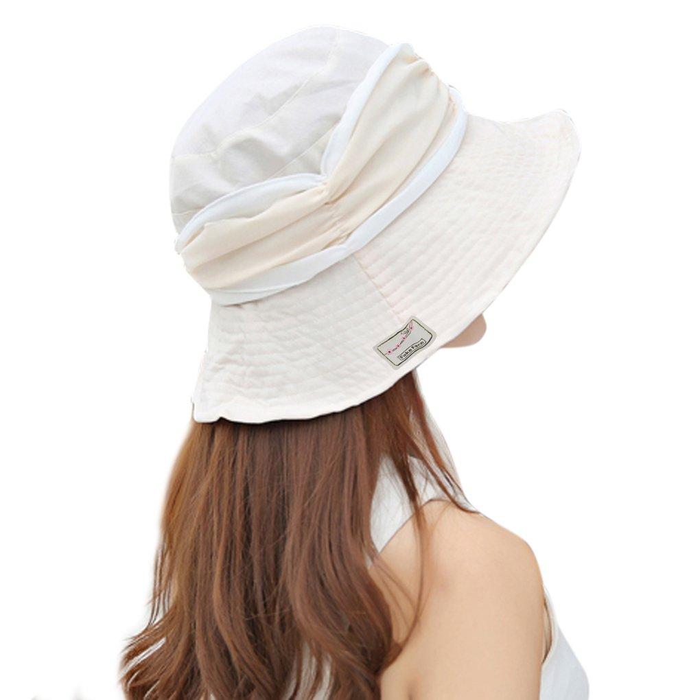 Damen Sommer Strand Hat Eimer Hut Fedorah/üte gro/ßer Rand-Anti-UV Sonnenhut Faltbarer Sonnenhut