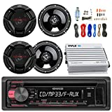 Kenwood KDC118 Car CD Player Receiver AUX Radio - Bundle Combo With 4x JVC CSDR620 6.5'' Inch 300-Watt 2-Way Black Audio Coaxial Speakers, 4-Channel Amplifier, Amp Kit