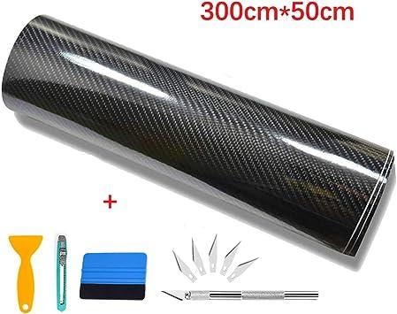 Image ofKaliwa Lámina autoadhesiva de vinilo para coche, flexible, 300 x 30 cm, color negro 6D 50 x 300