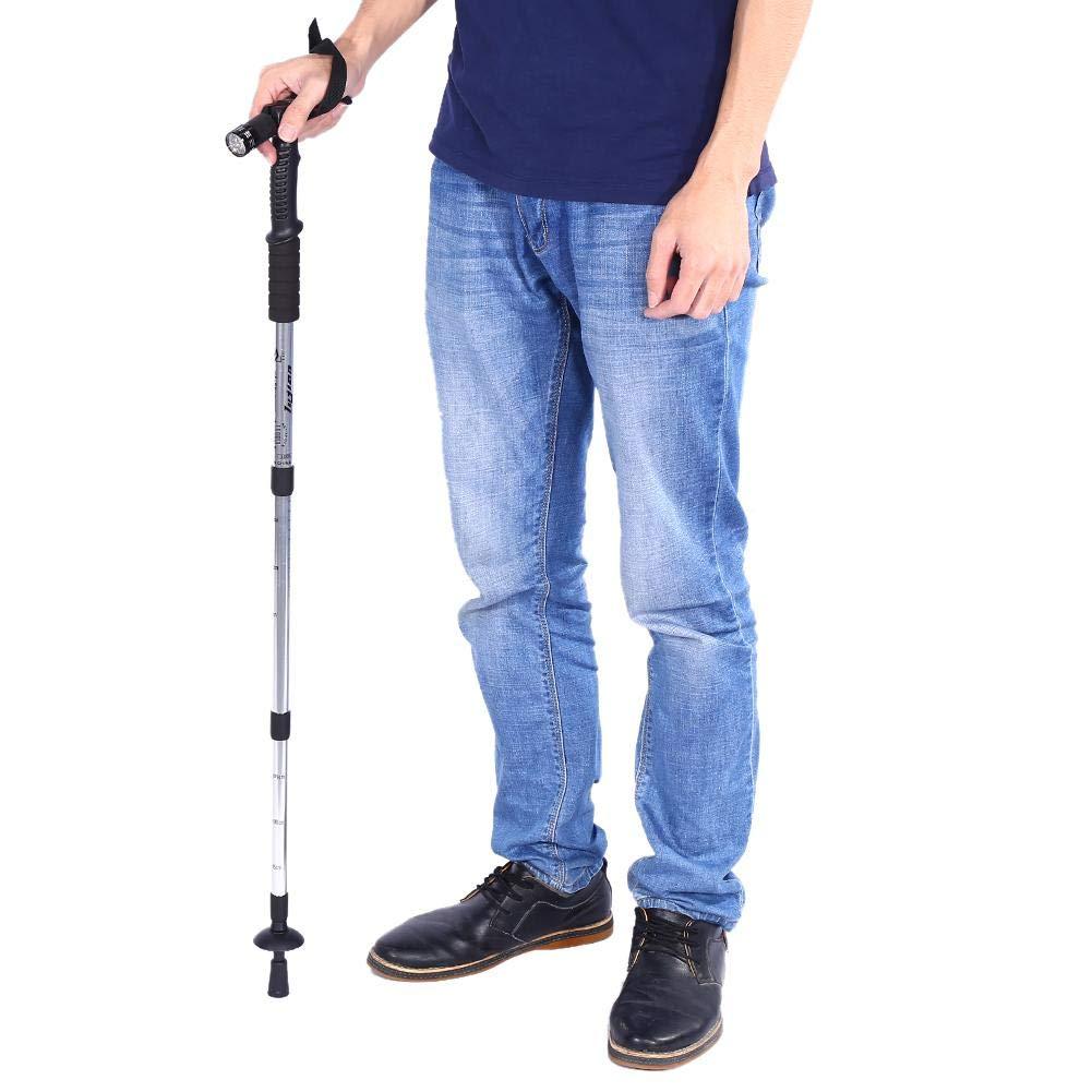Semme B/âton de randonn/ée t/élescopique portatif Anti-Choc de 4 Couleurs avec la Canne Pliante de poign/ée l/ég/ère de LED