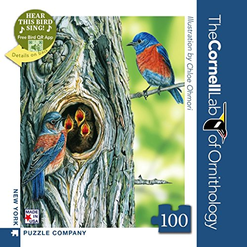 New York Puzzle Company - Cornell Lab Western Bluebird Mini - 100 Piece Jigsaw Puzzle
