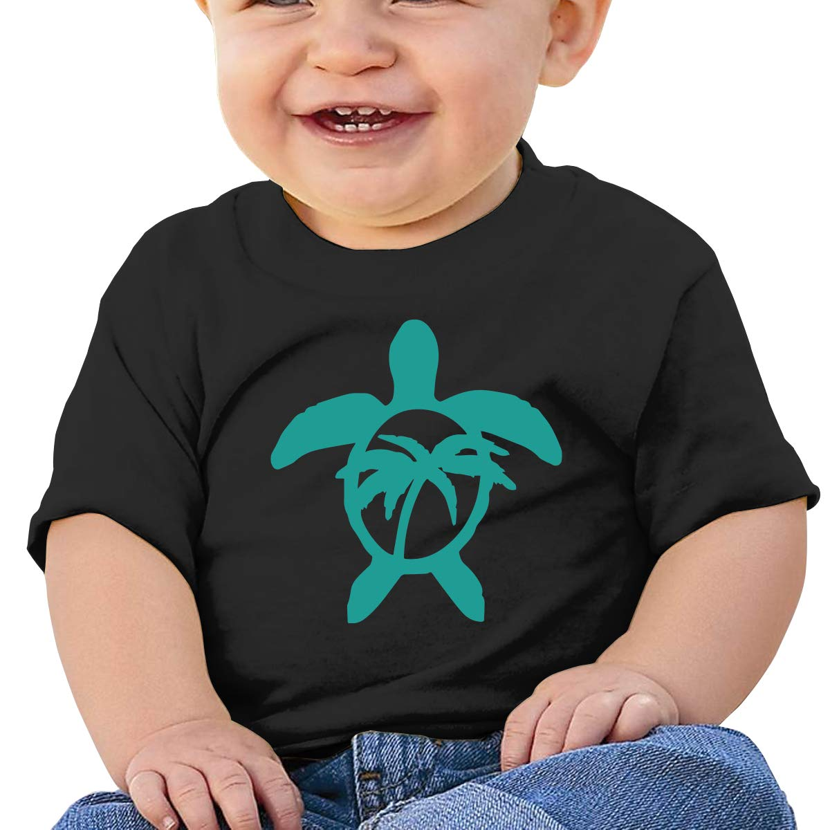 Hawaiian Palm Tree and Sea Turtle Toddler Baby Newborn Short Sleeve T-Shirt 6-24 Month Cotton Tops