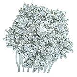 Sindary Bridal Headpiece 2.56'' Wedding Flower Hair Comb Silver Tone Clear Rhinestone Crystal HZ3814
