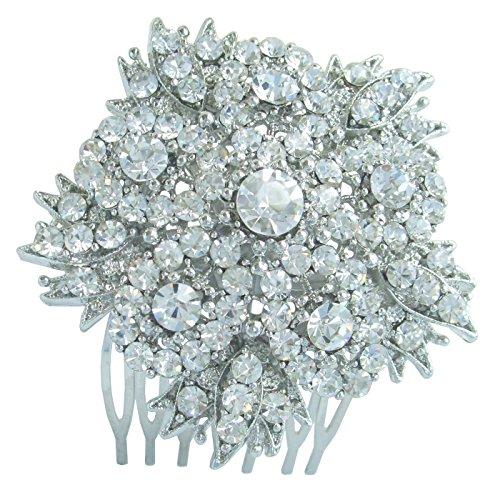 Sindary Bridal Headpiece 2.56'' Wedding Flower Hair Comb Silver Tone Clear Rhinestone Crystal HZ3814 by Wedding Hair Accessories-Sindary Jewelry