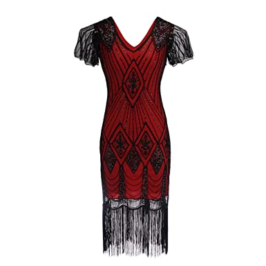 5947a0209b8 1920s Sequined Vintage Dress Beaded Gatsby Flapper Evening Dress Prom at  Amazon Women s Clothing store