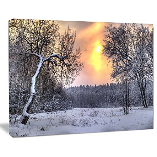 Designart Winter Landscape with Yellow Sun Landscape Artwork Canvas Print
