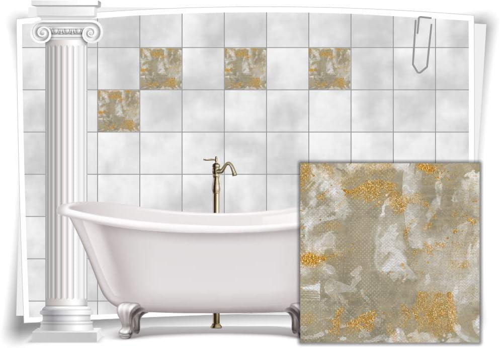 10x10cm 12 St/ück Medianlux Fliesen-Aufkleber Vintage Nostalgie Retro Grau Beige Gold Abstrakt Bad WC Deko