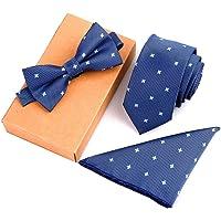 Men's Neckties& Handkerchief & Bow Tie Set Pocket Square Towel Bowtie Embroidery pattern