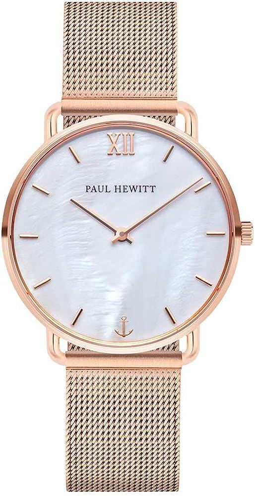 Paul Hewitt Miss Ocean Pearl – Reloj de pulsera para mujer (oro rosa) con correa de piel/correa de acero inoxidable, esfera en nácar