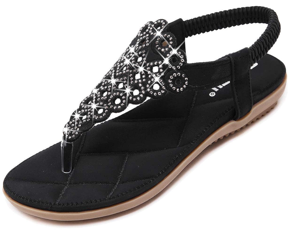 f9bf125195 Yozai Womens Rhinestones Sandals Flat Jeweled Summer Flip Flops