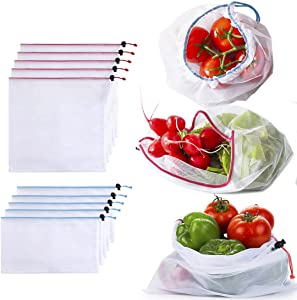 Nado Care Mesh produce bags - Set of 10 - See-Through and Washable, Heavy-Duty, Reusable Mesh Bags Storage Totes for Grocery Shopping Fruits, Vegetables, Food and Toy (5L - 5S)