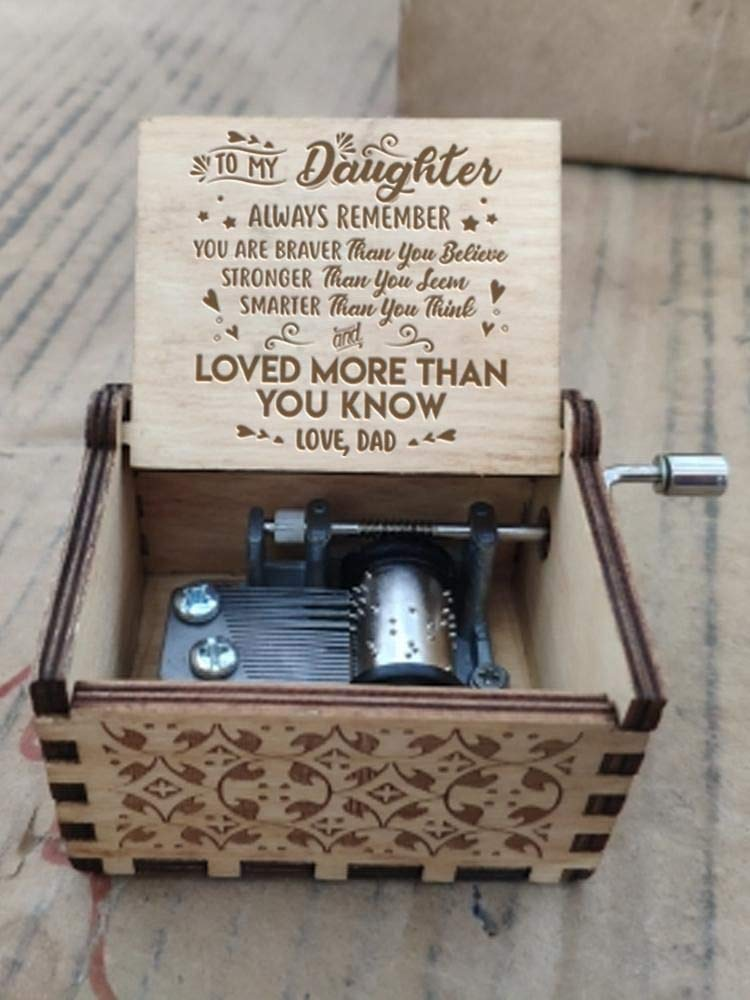 Engraved Music Box - You are My Sunshine, Gift for Daughter from Dad - You Are Stronger Than You Seem, Smarter Than You Think - From Dad