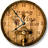 Its always WINE o'clock wall clock - wooden cask lid printed image - rustic cabin bar home decor