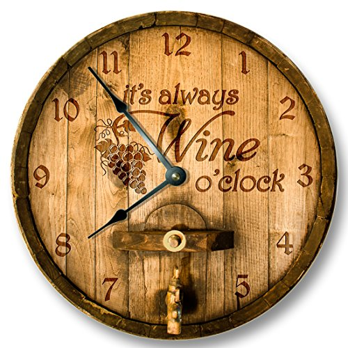Its always WINE o'clock wall clock - PRINTED IMAGE of wood cask lid - rustic cabin bar home decor