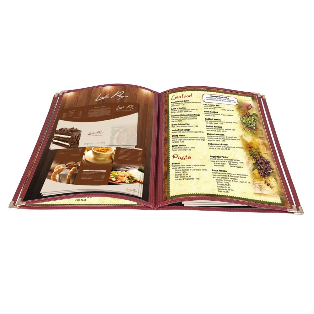 Yescom 20pcs 8.5''x14'' Menu Cover 4 Pages 8 Views Reinforce Corner Double Stitch for Restaurant Cafe
