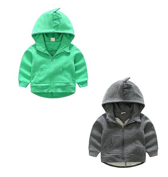 YuanDian Niño Primavera y Otoño Casual Color Sólido Sudaderas Cremallera Con Capucha Bolsillo Sweat Chaqueta 3