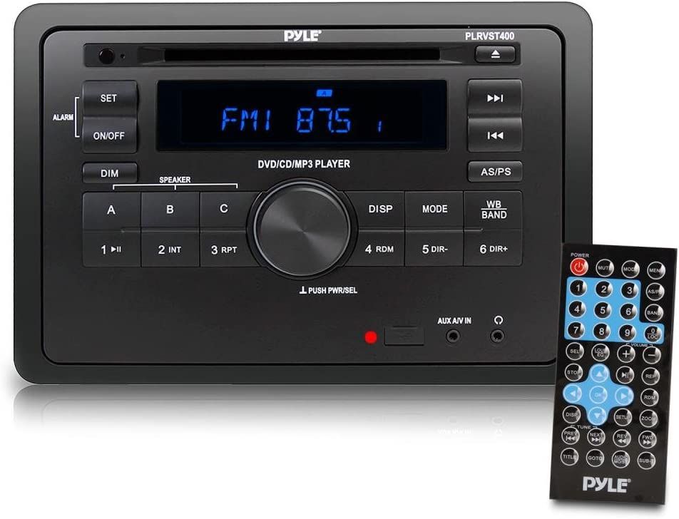 Pyle Double DIN In Dash Car Stereo Head Unit - Wall Mount RV Audio Video Receiver System with Radio, Bluetooth, CD DVD Player, MP3, USB - Includes Remote