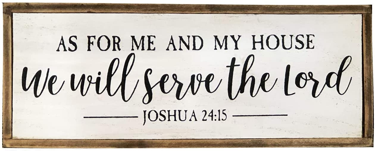 """Small Retro Wood Box Sign with Bible Verse - As for Me and My House We Will Serve The Lord, Rustic Farmhouse Christian Decor for Home, 9.6"""" W x 1.75"""" D x 3.6"""" H"""