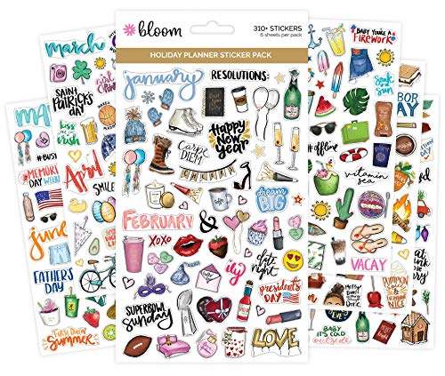 (bloom daily planners New Holiday Seasonal Planner Sticker Sheets - Seasonal Sticker Pack - Over 310 Stickers Per)