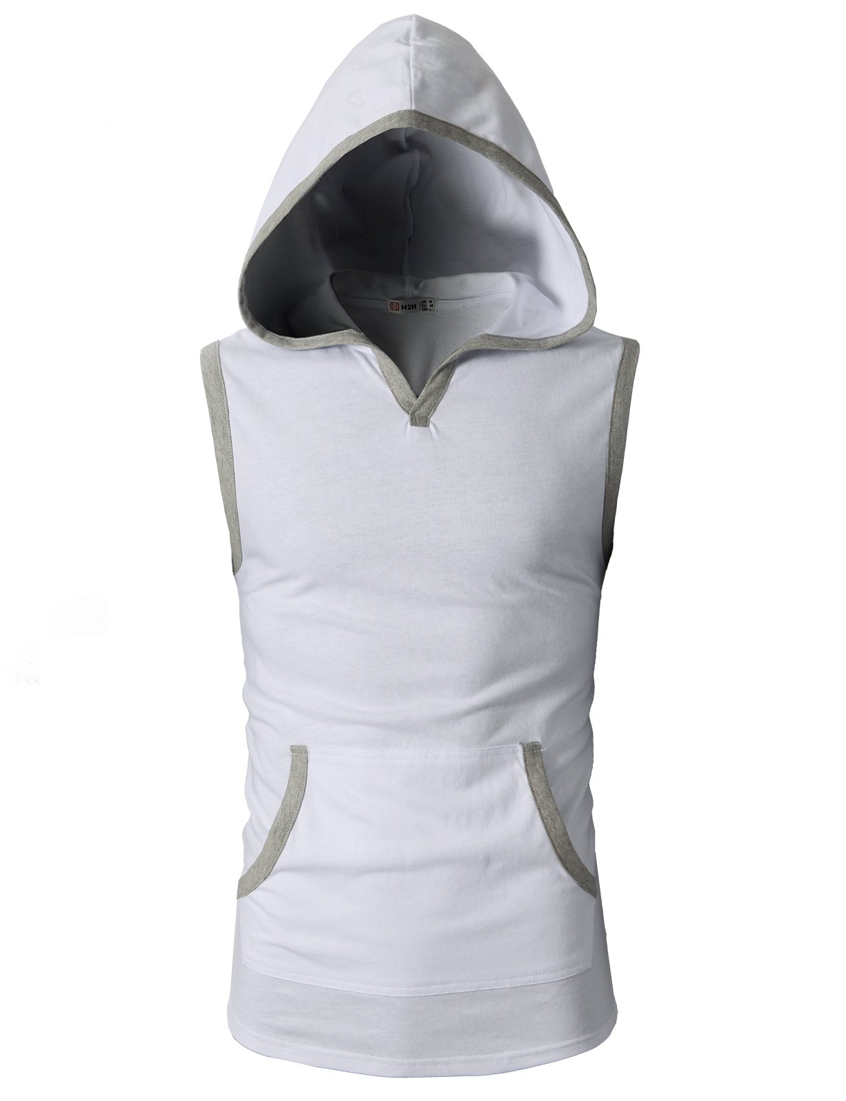 H2H Mens Fashion Slim Fit Sleeveless Lightweight Tank Tops with Front Pocket White US S/Asia M (CMTTK015)