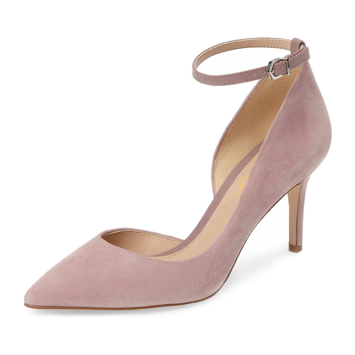XYD Women Pointed Toe D'Orsay Mid Heel Pumps Ankle Strap Buckled Wedding Party Dress Shoes B078XQ16PT 14 B(M) US|Pink