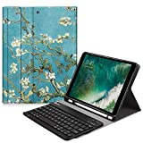 Fintie iPad 9.7 2018 Keyboard Case with Built-in Pencil Holder, [SlimShell] Soft TPU Back Protective Cover w/Magnetically Detachable Wireless Bluetooth Keyboard for Apple iPad 6th Gen, Blossom