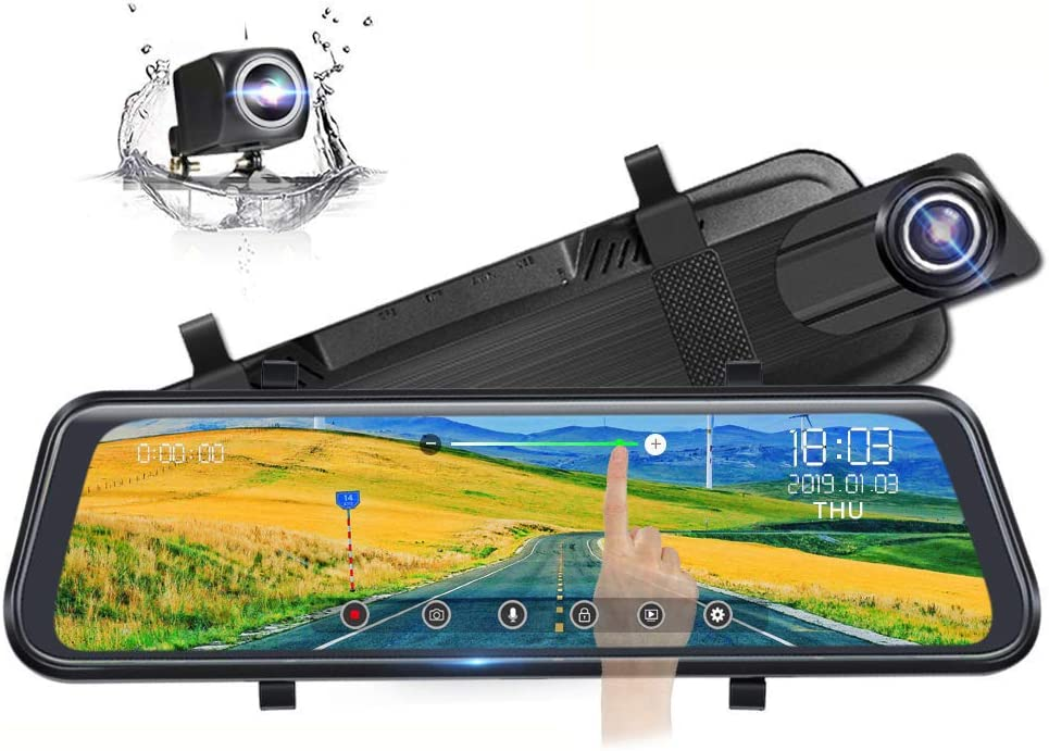 Adjustable Wide Angle 24-Hour Parking Monitor Parking Assistant Poaeaon Mirror Dash Cam for Cars with 10 HD Full Touch Screen WDR Night Vision Front and Rear Dual Lens with Waterproof Camera