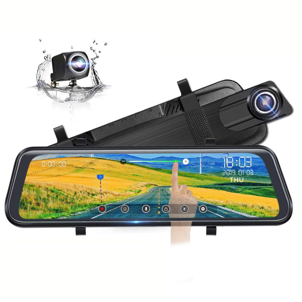 Backup Camera 10'' Full Touch Screen Mirror Dash Cam, Poaeaon 170° 1296P Front and 150° 1080P Rear View Camera Dual Lens with Night Vision & Parking Monitor by Poaeaon