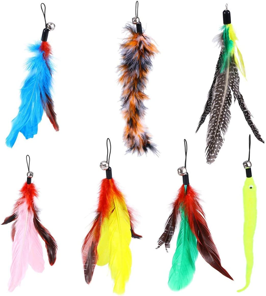 yiqi Retractable Cat Toys Interactive Feather Teaser Wand Toy with 7 Refills Feathers Birds Worms Catcher for Cats Kitten