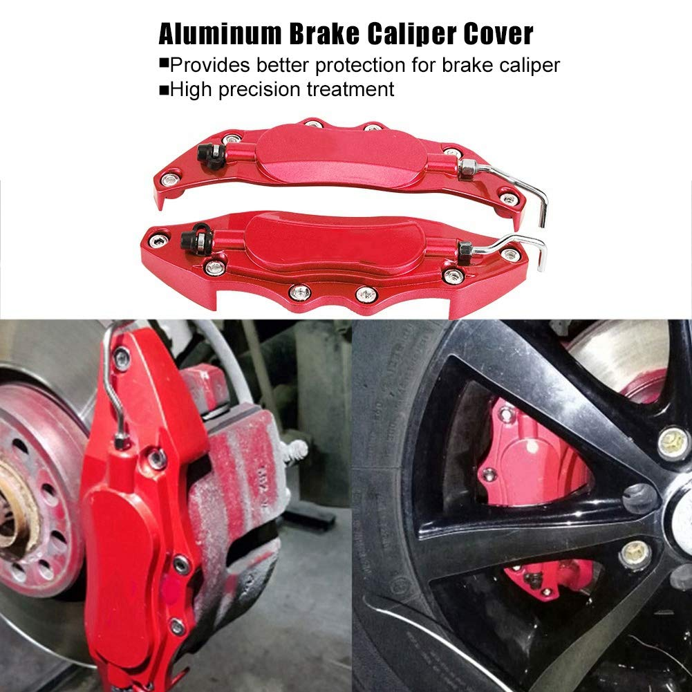 Red Cuque 2 pcs Car Front Rear Brake Caliper Cover Aluminum Alloy Endless Caliper Assembly Set Protector Guard Durable Quality Blue Red for Wheel Hub 14 inches-15 inches Small