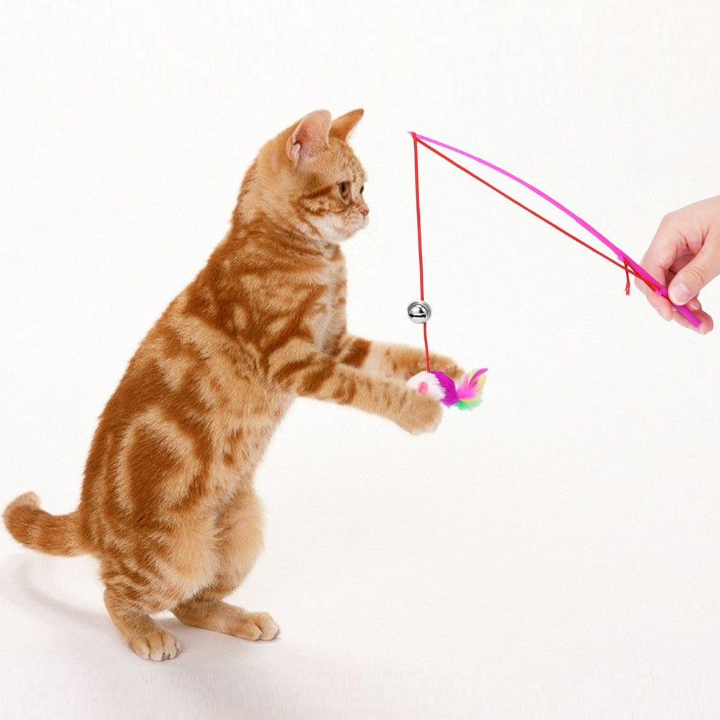 Hemore Katzenspielzeug, mit Federn, interaktiv, einziehbar
