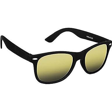 fce0903f3f Dervin Black Frame Yellow Shade Wayfarer Sunglasses for Men   Women  Amazon. in  Clothing   Accessories