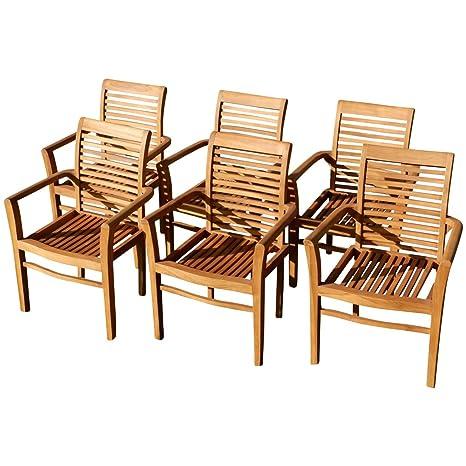 6stk Real teca diseño jardín Sillón Silla de jardín madera ...