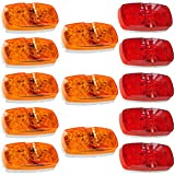 NEW SUN 13x Trailer LED Lights Bullseye Side Marker Lights 10 Diodes Surface Mount Clearance Lights Amber/Red Lens