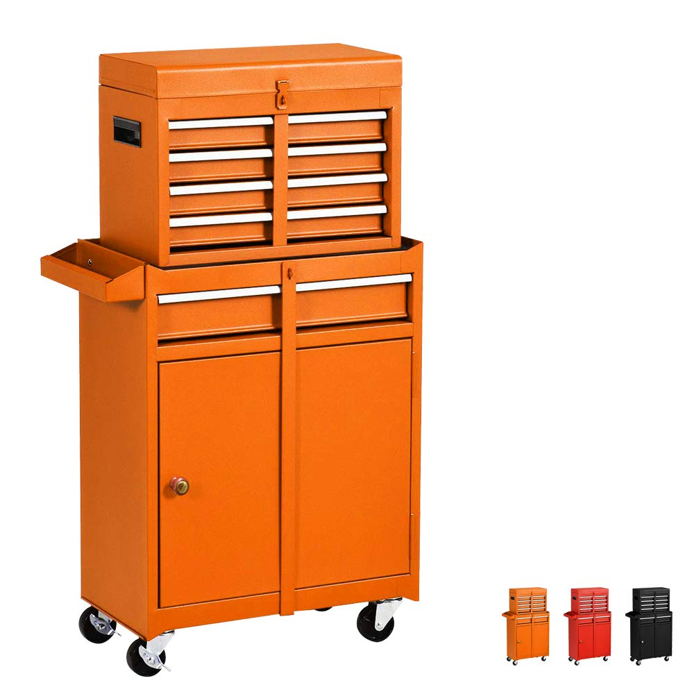 Household 5-Drawer Rolling Tool Chest with Wheels and Drawers,Tool Storage Cabinet,Detachable Organizer Tool Box Combo,Mobile Lockable Toolbox for Workshop Mechanics Garage