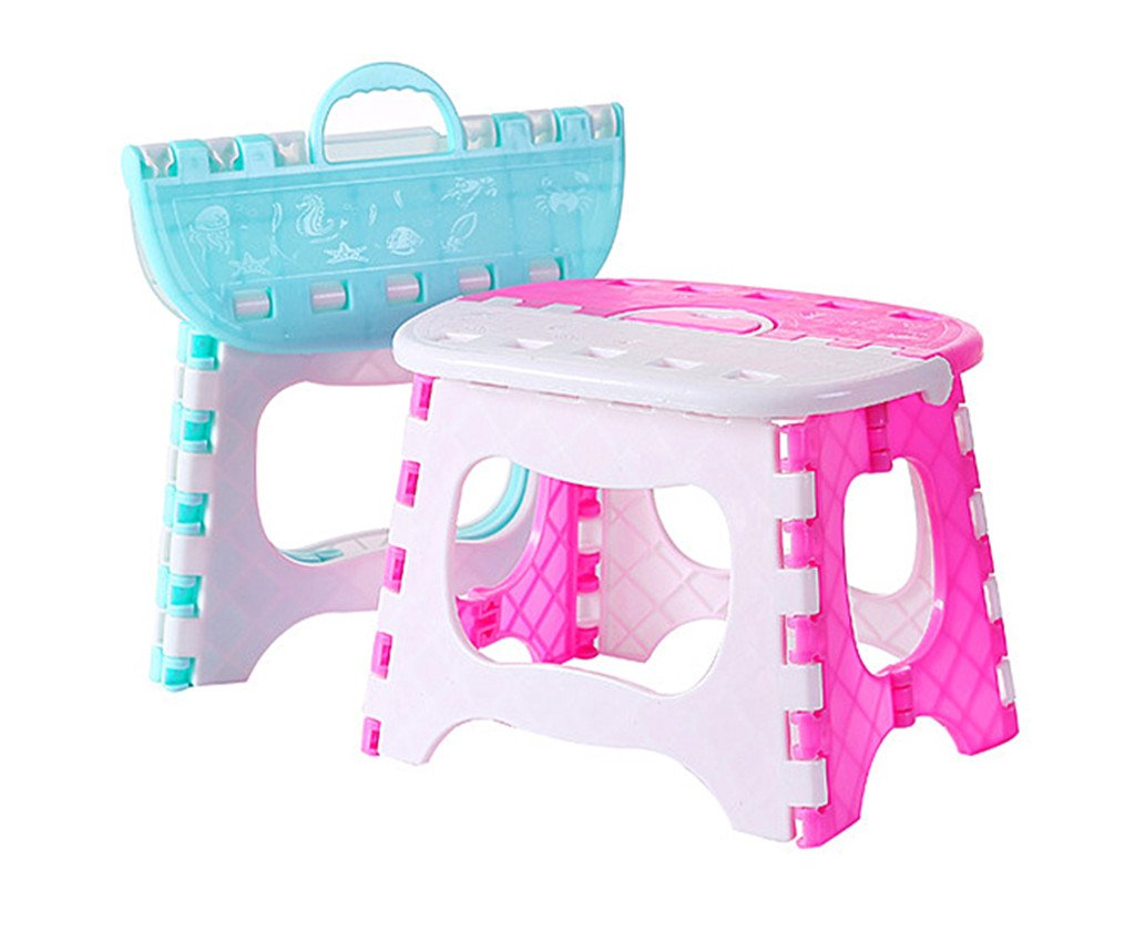 Alimitopia 2pcs Kids' Folding Step Stool with carry handle,Portable Children Foldable Campstool Chair for Indoor or Outdoor Use
