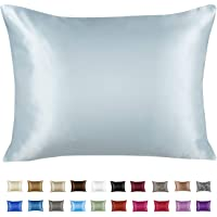 ShopBedding Luxury Satin Pillowcase for Hair – Standard Satin Pillowcase with Zipper, Baby Blue (1 per Pack) – Blissford