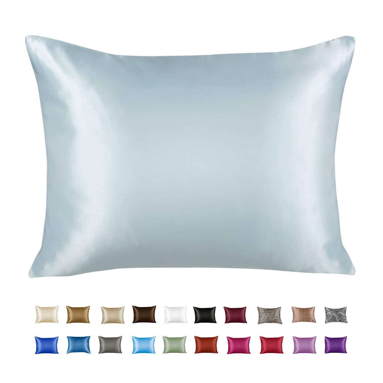 Shop Bedding Luxury Satin Pillowcase for Hair – Standard Satin Pillowcase with Zipper, Baby Blue (1 per Pack) – Blissford