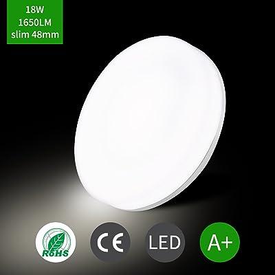 Uesen Plafonnier LED 18W Lampe De Plafond Rsistante Leau IP44 Equivalent Incandescente 100W 1650lm 5000K Cool Blanc Parfait Pour