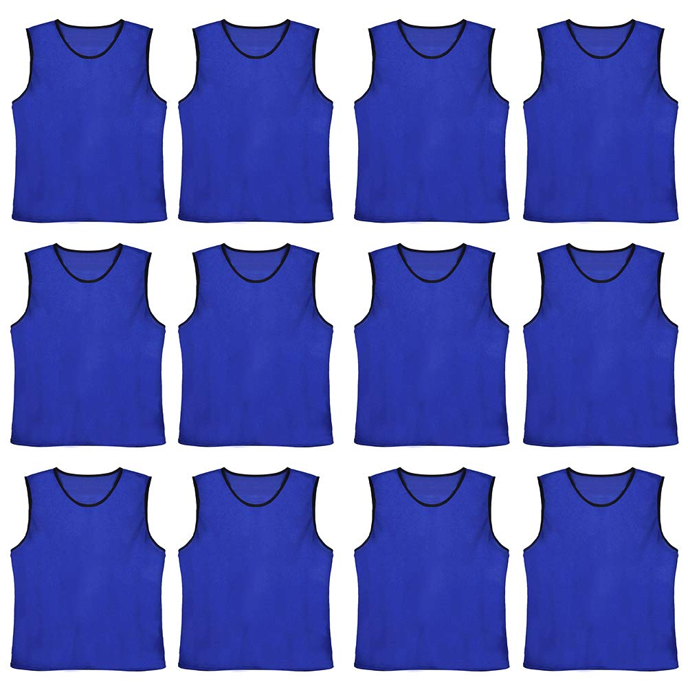 TOPTIE Numbered/Blank Scrimmage Team Practice Mesh Jerseys Vests Pinnies (12-Pack)-NavyBlue Blank-Adult by TOPTIE