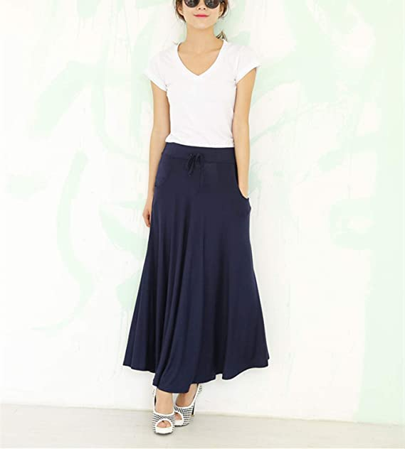 b11073293b Superbaby Women Junior Drawing Pockets Cotton Pleated Long Soft Skirt M at Amazon  Women's Clothing store: