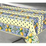 Fabric Tablecloth, Spillproof / Stain-Resistant Indoor / Outdoor, Polyester 60-Inch-By-120 Inch, Seats 10 to 12 People, Lemon-Blue --- Nappe imprimée Boreal Anti-taches, 60x84 pouces, Rectangulaire, Rectangle, Citron-Bleu