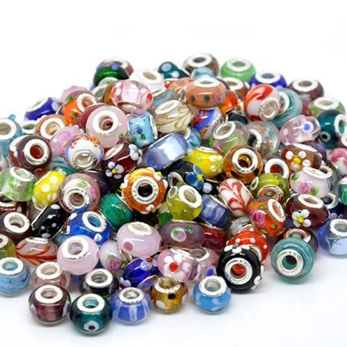 Pack of Ten (10) Assorted Colorful 100% Pure Murano Glass Bead Charms - Fits Pandora, Chamilia, Troll, and Biagi Charm Bracelets (Charm Fits Chamilia Troll Pandora)